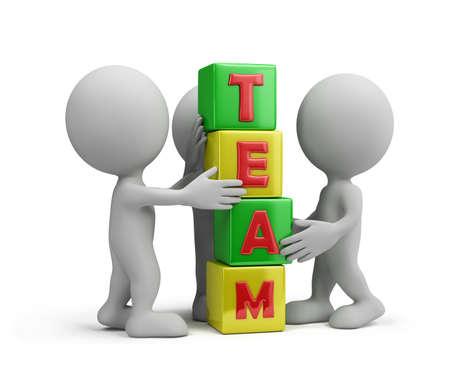 Werk samen als een team. 3d beeld. Witte achtergrond.