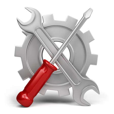Llave y destornillador sobre un fondo de la rueda dentada. Imagen en 3D. El fondo blanco.