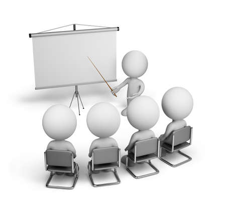training room: Training of employees in the conference hall. 3d image. White background.