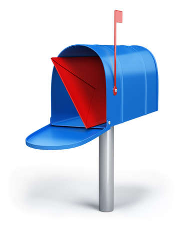 Blue mailbox with a letter. 3d image. White background. photo