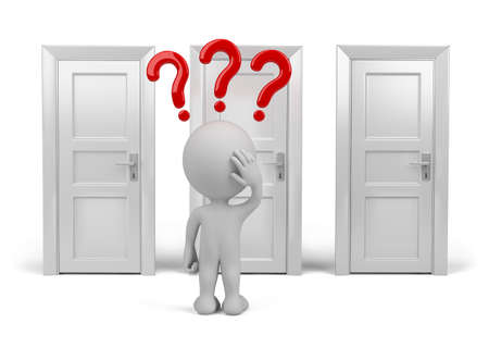 which: Person chooses which door to enter. 3d image. White background.