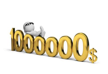 dollaro: 3d persona e un milione di dollari. Immagine 3D. Sfondo bianco.