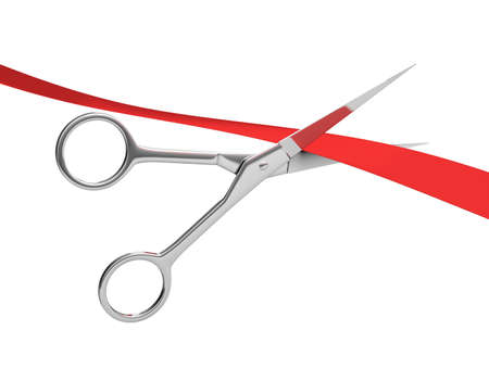 inauguration: Scissors cut the red tape. 3d image. White background.