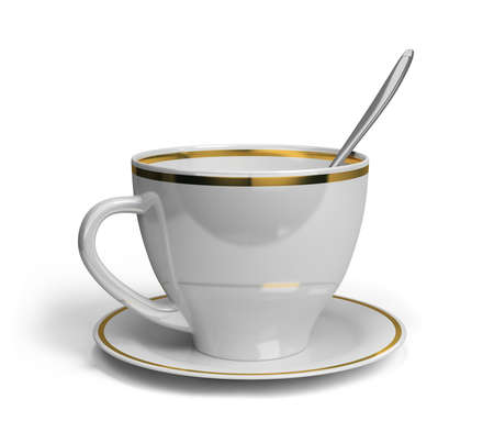 white tea: Cup, saucer and spoon for tea. 3d image. White background.