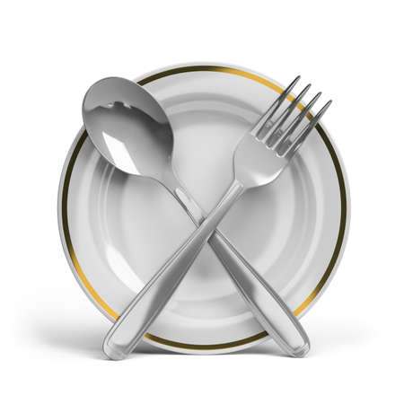 plate of food: Cutlery - spoon, fork and plate. 3d image. White background.