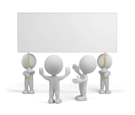 People admire advertising. 3d image. White background. photo