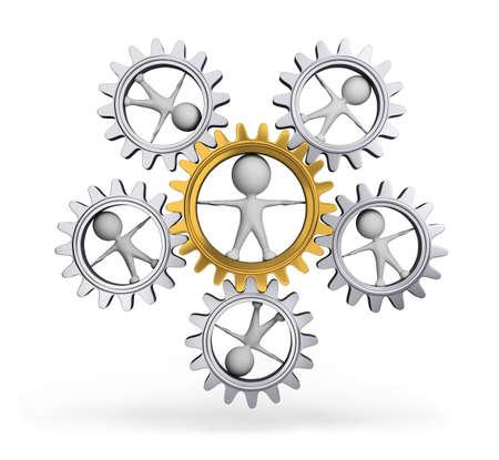 Interacci�n con cada otra persona y rueda dentada. Imagen en 3D. El fondo blanco.
