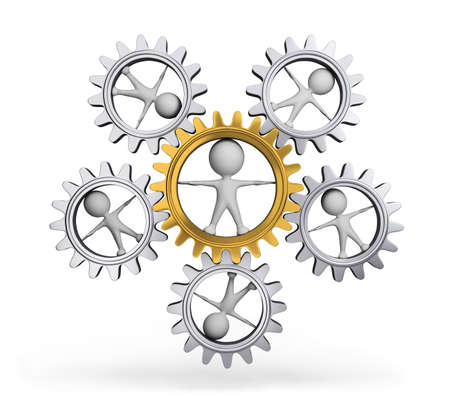 dependence: Interaction with each other person and gear wheel. 3d image. White background. Stock Photo