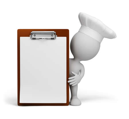 sheet menu: The chef presents a menu. 3d image. White background.