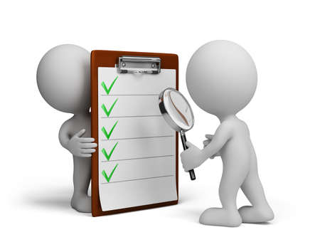 Man controleert een checklist met een vergrootglas. 3d beeld. Witte achtergrond. Stockfoto