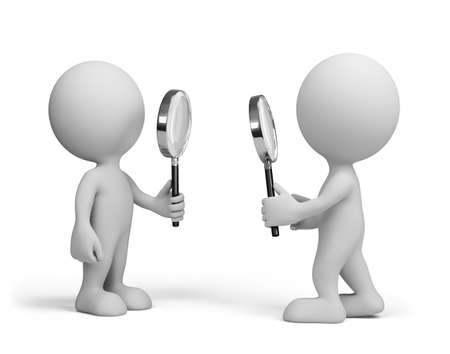 Two people looking at each other with a magnifying glass. 3d image. White background.