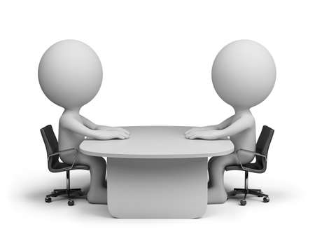 interview: Two people sitting at the table talking. 3d image. White background. Stock Photo