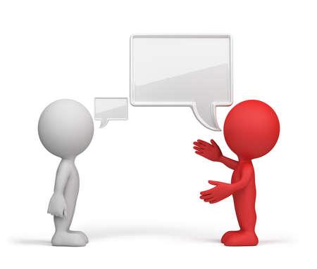 Una conversazione con la testa dello slave. Immagine 3d su sfondo bianco. Archivio Fotografico - 31864772