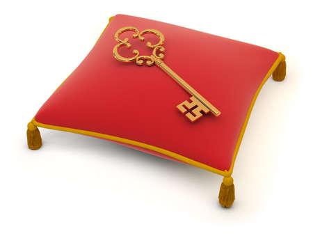 Key lying on a red velvet pillow. 3d image. Isolated white background.