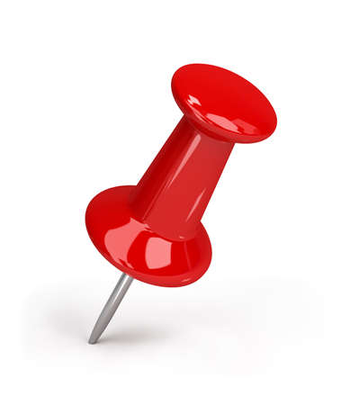 Red pushpin. 3d image. Isolated white background. Standard-Bild