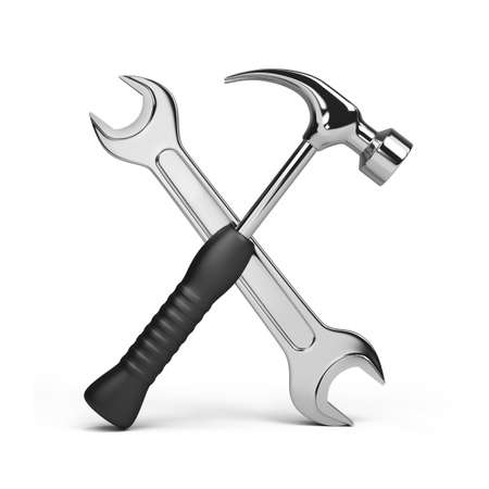 steel worker: Tools, wrench and hammer. 3d image. Isolated white background. Stock Photo