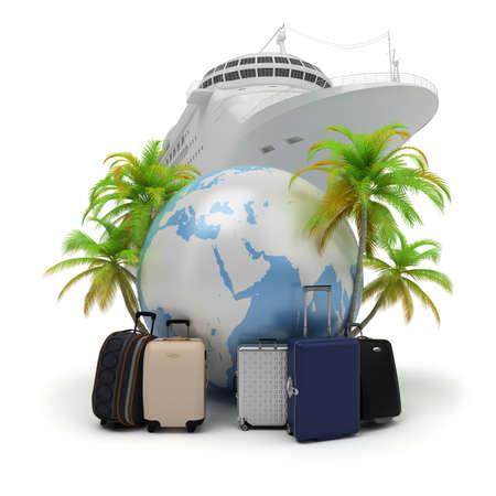 El globo rodeado de maletas y palmeras y la nave. Imagen en 3D. Fondo blanco aislado. Foto de archivo
