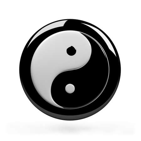Yin yang s�mbolo de la armon�a. Imagen en 3D. Fondo blanco aislado.