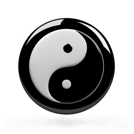 Yin yang symbol of harmony. 3d image. Isolated white background.