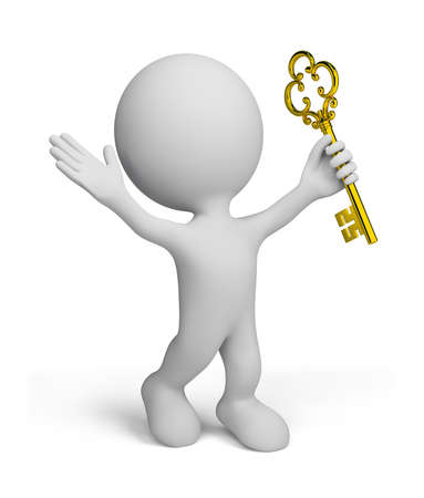 3d man with a gold key. 3d image. Isolated white background. photo