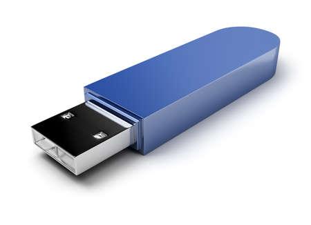 usb flash de una tarjeta azul oscuro. Imagen en 3D. Fondo blanco aislado. Foto de archivo