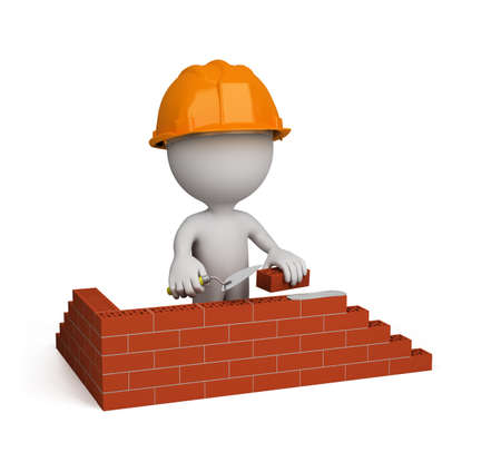 3d person builds a house. 3d image. Isolated white background.