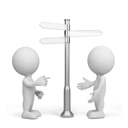 Two people are choosing the direction of movement. 3d image. Isolated white background. Stock Photo