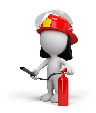 Bombero en el casco con el extintor de fuego de color rojo. Foto de archivo