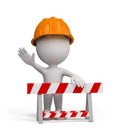 casco rojo: Reparador destaca por la barrera.