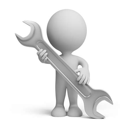 3d man standing with a steel wrench.  Stok Fotoğraf