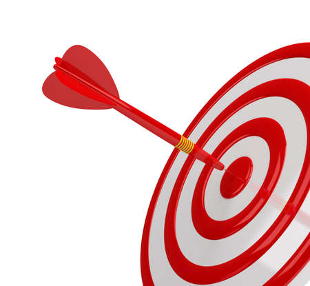 achieved: Direct hit in the center of the target.  Stock Photo
