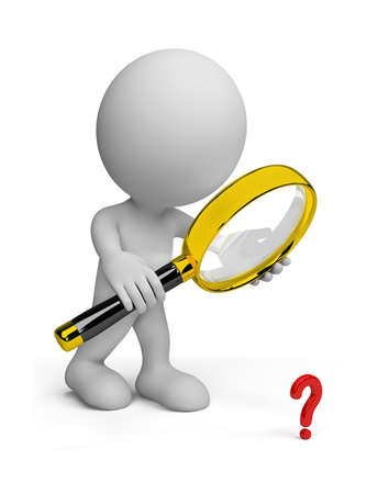 Man looking through a magnifying glass on the object.  photo