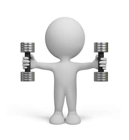 3d small people: 3d person with dumbbells.