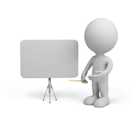 3d person with empty board.  Stock Photo