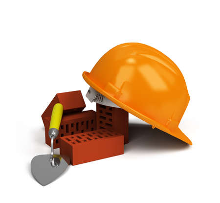 worker person: Yellow helmet on the bricks and trowel 3d image.  Stock Photo