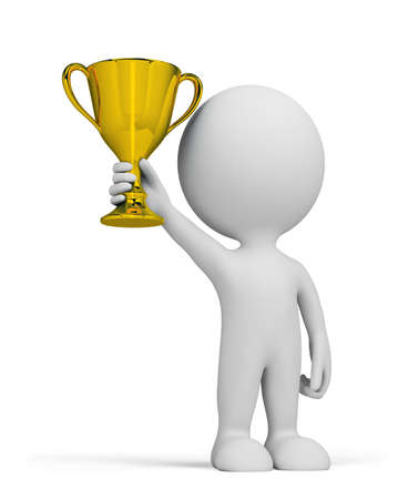 awards ceremony: 3d person with a golden cup in her hand. 3d image. Isolated white background.