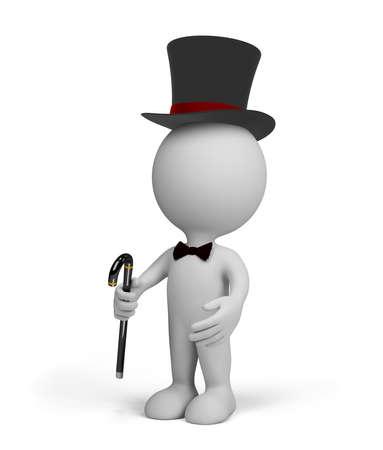 Gentleman en un sombrero de copa negro con un bast�n. Imagen en 3D. El fondo blanco. Foto de archivo