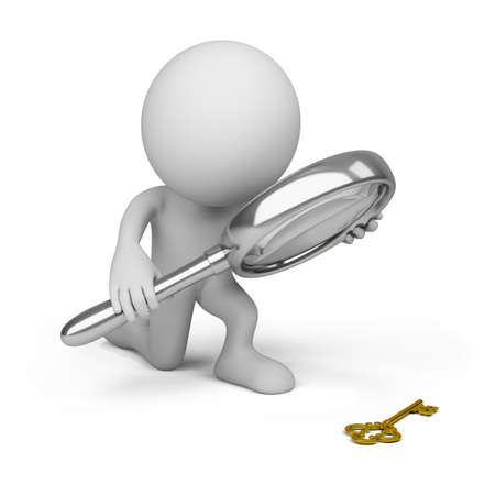 3d person with a big magnifying glass looking at the golden key. 3d image. Isolated white background. Stock Photo