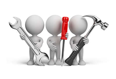 Tres personas con las herramientas en las manos de. Imagen en 3d. Aislado fondo blanco.