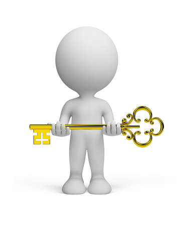 3d person with a gold key in hands.3d image. Isolated white background. photo