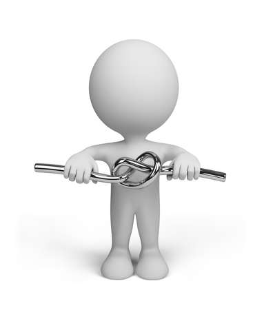 Hombre 3d con un nudo de metal. Imagen en 3D. Aislado fondo blanco. Foto de archivo