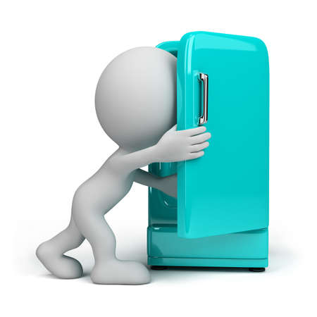 completed: 3d person looking inside a vintage fridge. 3d image. Isolated white background. Stock Photo