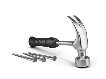 Hammer and nails. 3d image. Isolated white background. Stock Photo