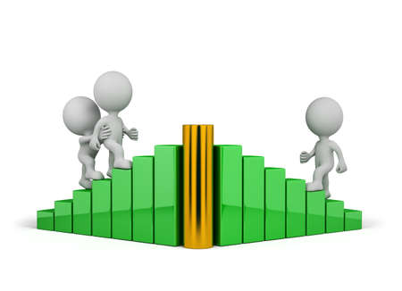 mutual aid: 3d person helps a friend to achieve the goal. 3d image. White background. Stock Photo