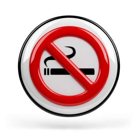 interdiction: Red interdiction de fumer signe. 3d image. Isolé fond blanc. Banque d'images