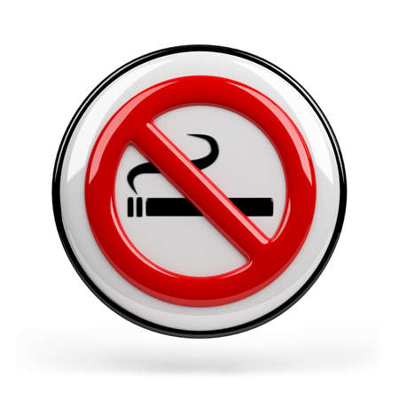 prohibition: Red sign smoking ban. 3d image. Isolated white background. Stock Photo