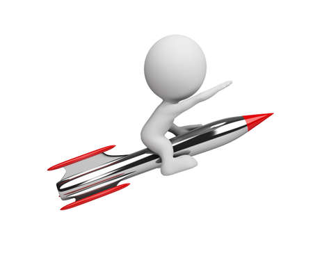 3D hombre volar en un cohete. Imagen en 3D. Fondo blanco. Foto de archivo