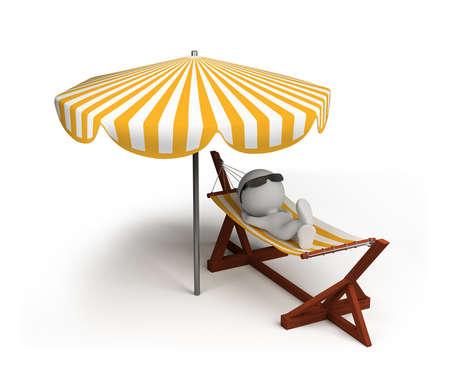 3d persona disfruta de las vacaciones. Imagen en 3D. Fondo blanco.