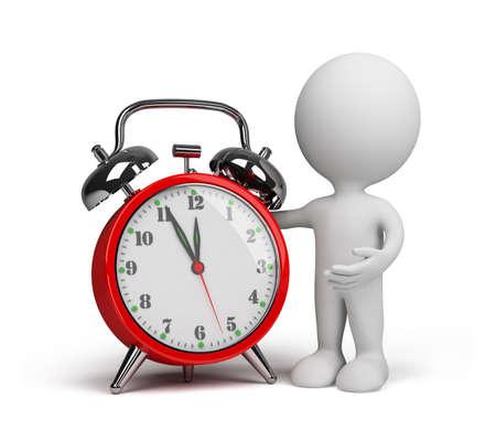 3 � persona con un reloj de alarma roja. Imagen en 3D. Fondo blanco. Foto de archivo