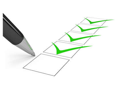 green office: Black pen draws a checkmark in the list. 3d image. Isolated white background.